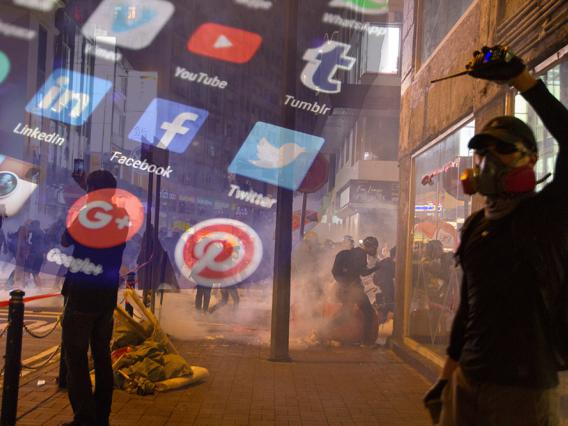 Information warfare social media icons